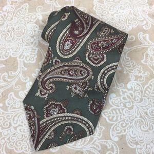 Oscar de la Renta Olive Green Paisley Silk Tie